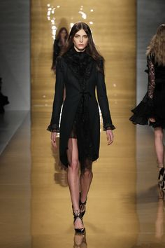 Look 23: Slate grey embroidered wool coat worn with chiffon and lace blouse and tulle and lace skirt.