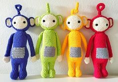 Crocheted Teletubbies. Free pattern in Danish.