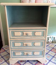 Upcycled chest of drawers Annoe Sloan Country Grey and Duck Egg Blue. By Bluebells Vintage