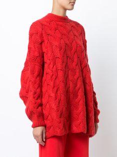 Ryan Roche свободный свитер с вязкой с косичками Knitwear Fashion, Knit Fashion, Cable Sweater, Pullover Sweaters, Fashion Silhouette, Simply Red, Dress Codes, Crochet Clothes, Lana