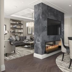 Love this idea of a two way fireplace dividing the dining room and family room. - Home Decor İdeas Dining Room Fireplace, Home Fireplace, Modern Fireplace, Fireplace Design, Fireplaces, Luxury Interior, Home Interior Design, Modern Interior, Exterior Design