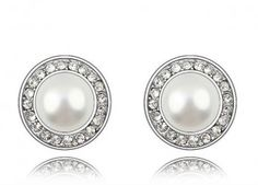 diomand earring ivory pearl stud earring