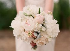needs a little more pastel color (peaches, pinks)? Sweet pea, peony, dusty miller and rose bouquet