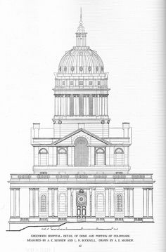 One of the two domes of the Royal Hospital at Greenwich, England by Sir Christopher Wren, Sacred Architecture, Renaissance Architecture, Church Architecture, Classic Architecture, Historical Architecture, Architecture Details, Architecture Drawing Sketchbooks, Building Drawing, Unique Drawings