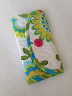 Crochet Hook Case  white lime green and aqua by thesewingmachine,