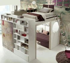 Bedroom Design Ideas For Couples and Bedroom Decor Ideas For Small Rooms. Bedroom Loft, Dream Bedroom, Bedroom Bookshelf, Master Bedroom, Design Bedroom, Bookshelf Ladder, Raised Beds Bedroom, Bedroom Storage, Warm Bedroom