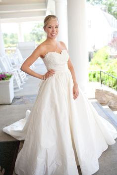 We love this Georgia bride wearing the Chatham gown by Anne Barge!