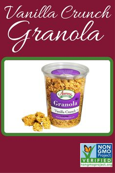 Vanilla Crunch Granola is now verified by @nongmoproject   http://www.auroraproduct.com/product/granola-vanilla-crunch-14-oz/