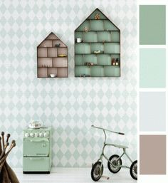 pastel harlequin wallpaper + the little dorm cases for kids room, from Ferm Living