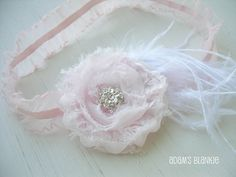 $18.00 Angel Dust - Baby Pink - Shabby Rosette Ruffled Headband - Bling Crystal - White Feathers - Girls Newborns Baby Infant Adults - Photo Prop