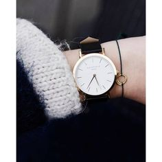 White Gramercy women's watch - black leather band   ROSEFIELD Watches