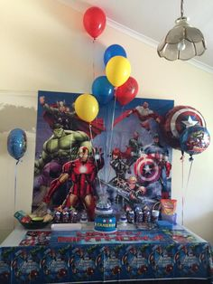 Avenger's Themed Party - All Avengers partyware can be found on our website. For the helium balloons, please contact us for details as we are able to get them in, just not inflate them at this time. Baby Birthday Themes, 60th Birthday Party, Superhero Birthday Party, Avengers Party Decorations, Birthday Party Decorations, Party Themes, Party Ideas, Iron Man Birthday, Avengers Birthday