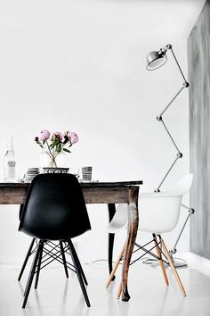 modern dining area, mixing old and new, modern lamp, calm monochrome colours