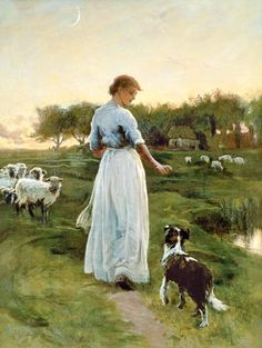 A Shepherdess with her Dog and Flock in a Moonlit Meadow - George Faulkner Wetherbee