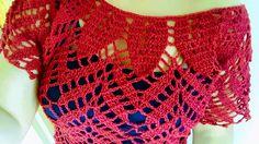 ❤Blusa Fashion en Crochet (ganchillo) con Motivos de Hojas y Espigas a l...