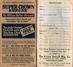 Crown Overalls Railroad Time Book (Inside), 1925-1926