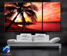 """LARGE 30""""x 60"""" 3 Panels Art Canvas Print beautiful Palm tree Beach Sunset Wall home office decor interior (Included framed 1.5"""" depth)"""