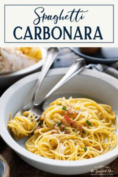 This easy spaghetti carbonara recipe is a simple dinner that comes together in about 30 minutes. The creamy pasta with bacon doesn't even need cream, as the velvety texture comes from a quick sauce made with eggs, garlic and Parmesan. Serve a bowl of the best spaghetti carbonara with a Caesar salad and a side of garlic bread for the ultimate weeknight dinner!