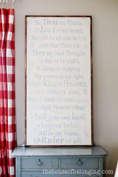 Be Thou MY Vision Sign by TheHouseofBelonging on Etsy, $125.00  I want this for my dining room.