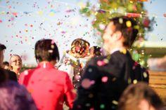 Real Wedding: Colorful Backyard Wedding...Love the confetti!