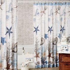 lake themed bathroom   Antigua Starfish Coastal Shower Curtain