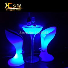 Plastic LED Bar Stool Club High Cocktail Chair Waterproof Outdoor Furniture Wine Drinking Stools