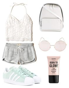 """#retrochic!"" by cosetteaubertd on Polyvore featuring moda, Hollister Co., adidas Originals, STELLA McCARTNEY, Hot Topic y NYX"