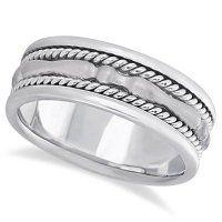 Allurez Mens Carved Handmade Wedding Ring Band In 18k White Gold 8mm by Allurez