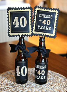 birthday decorations party centerpiece table decorations beer bottle labels birthday for him 40th Birthday Centerpieces, Birthday Party Decorations For Adults, Birthday Party Tables, Adult Birthday Party, 40th Birthday Parties, Beer Bottle Centerpieces, Beer Party Decorations, 40th Birthday Ideas For Men, 21st Party