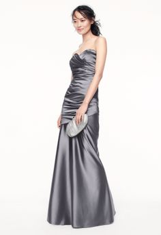 Bridesmaid Style F15586 in Mercury #grayweddings #davidsbridal