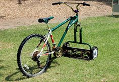 Behold! The Mowercycle! / exercise & nice yard at the sane time