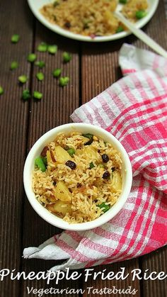 This recipe is our vegetarian version of Thai-style sweet and spicy pineapple fried rice. Some of the traditional versions of this recipe uses meat (chicken, shrimp, crab and likely), eggs, vegetable