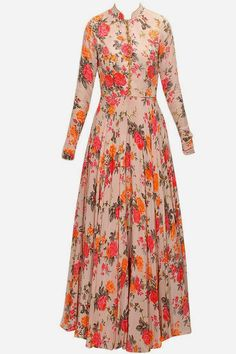BHUMIKA SHARMA Pink floral print embroidered anarkali set available only at Pernia's Pop-Up Shop. Indian Designer Outfits, Indian Outfits, Designer Dresses, Indian Gowns Dresses, Pakistani Dresses, Frock Fashion, Fashion Dresses, Muslim Fashion, Indian Fashion