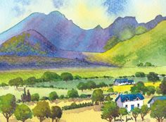 Original Watercolour Painting Mountain by Pamelajonesartstudio