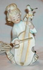 VINTAGE PORCELAIN ANGEL WITH CELLO & BIRD NIGHT LIGHT & ATOMIZER