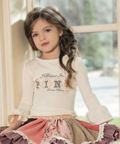 Look at this #zulilyfind! Cream 'Pink' Ruffle-Sleeve Tee - Infant, Toddler & Girls by Persnickety Clothing #zulilyfinds