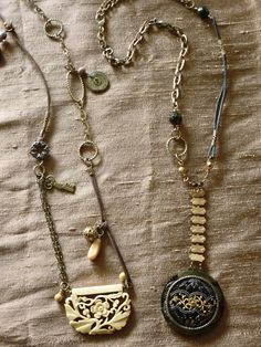 necklaces created from re-purposed jewelry, antique perfume buttons and leather