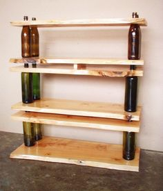 Recycled Shelving and Tables - Homemade Wine Bottle Crafts, http://hative.com/homemade-wine-bottle-crafts/,