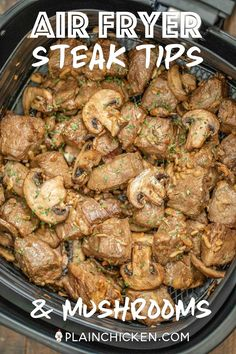 Air Fryer Steak Tips & Mushrooms - our favorite steak dinner! Only 5 ingredients and ready to eat in Air Fryer Recipes Beef, Air Frier Recipes, Stew Meat Recipes, Air Fryer Dinner Recipes, Cooking Recipes, Steak Recipes, Cooking Ideas, Steak And Onions, Steak And Mushrooms