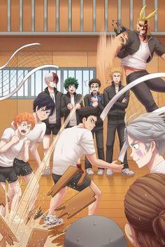 Haikyuu x boku no hero Anime Meme, Otaku Anime, Comic Anime, Anime Guys, Manga Anime, Haikyuu Kageyama, Haikyuu Funny, Haikyuu Fanart, Kagehina