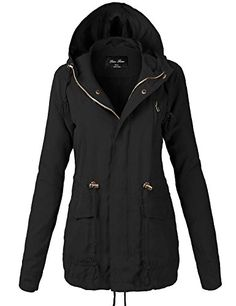 Women's Quilted Lightweight Jackets - Peach Skin Waist Drawstring Hooded Zipper Utility Jackets118BlackLarge >>> More info could be found at the image url.