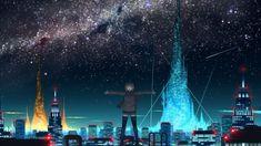Starry sky over anime city Anime HD desktop wallpaper, City wallpaper, Sky wallpaper, Star wallpaper, Woman wallpaper - Anime no. Anime Scenery Wallpaper, City Wallpaper, Wallpaper Backgrounds, Desktop Wallpapers, Dark Anime, Starry Night Sky Wallpaper, Top Photos, Animes Online, Anime Triste