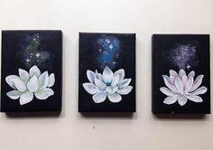 A set of 3 hand-painted custom minimalist lotus canvases