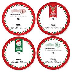 Santa's Special Delivery - Small Round From: Santa Claus Christmas Stickers - Set of 24 *** To view further, visit now