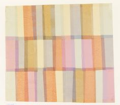 Three horizontal rows of pink, light blue, yellow and light brown colored tissue arranged to form overlapping rectangles. Textiles, Textile Patterns, Textile Prints, Textile Design, Color Patterns, Fabric Design, Pattern Design, Print Design, Print Patterns