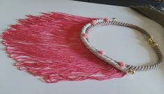 Handmade pink long necklace with tassel and roses Handmade Necklaces, Tassels, Roses, Pink, Color, Rose, Colour, Tassel, Pink Hair