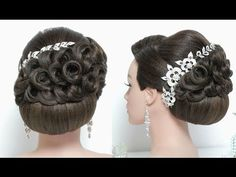 Bridal hairstyle for long hair tutorial. Updo for wedding - YouTube