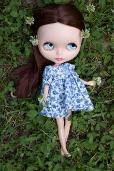 Short Blue Flower Dress with Panties and Hair by SugarMountainArt