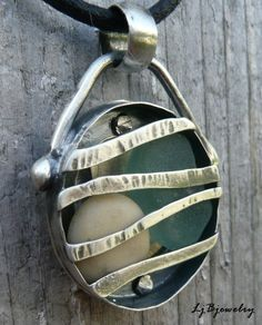 Caged Pendant,  Necklace, Beach stone and glass,  Sterling Silver, Summer Style. $81.00, via Etsy.