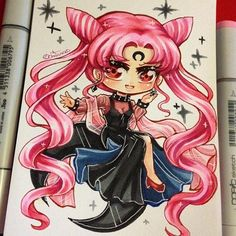Chibi of Black lady ( to match the one I did of Serenity =D ) I can't believe it's my birthday on Sunday ;o; it feels like this year went by so fast. #paigeeworld #sailormoon #blacklady #wickedlady #sm #chibi #copic #copicmarker #copicart #kawaii #traditionalart by arikukko
